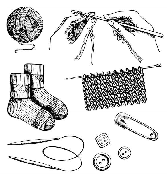 Tricô e crochê conjunto mão desenhada Vetor Premium