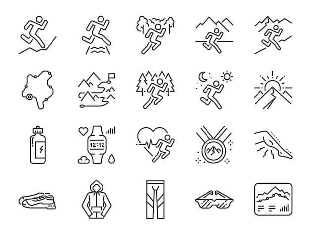 Trilha conjunto de ícones de linha em execução. Vetor Premium