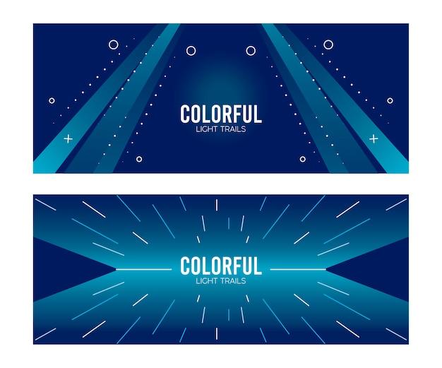 Trilha de luz colorida no design de ilustração de blues Vetor Premium