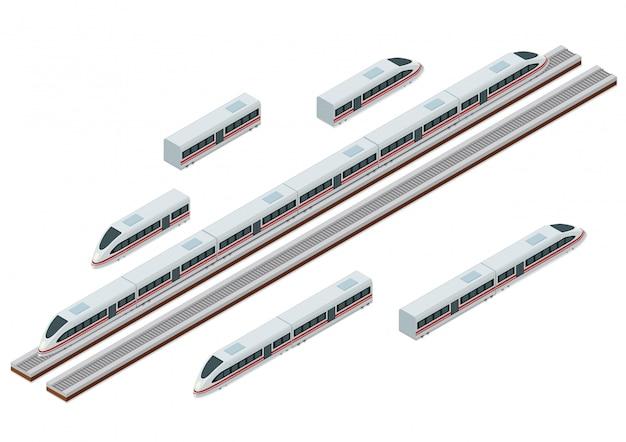Trilhos de trem isométricos e trem de alta velocidade moderno Vetor Premium