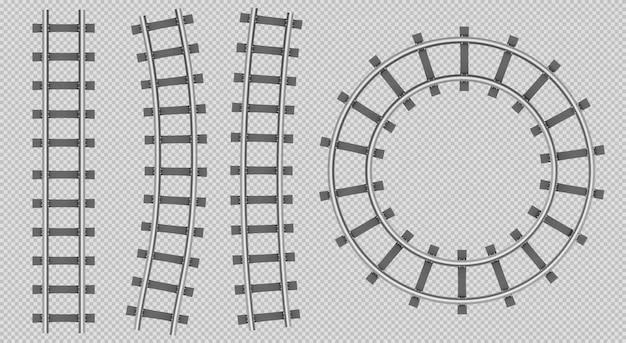 Trilhos de trem vista superior, reta, curva, caminho redondo Vetor grátis