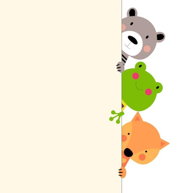 Trio de animais coloridos de desenhos animados Vetor Premium