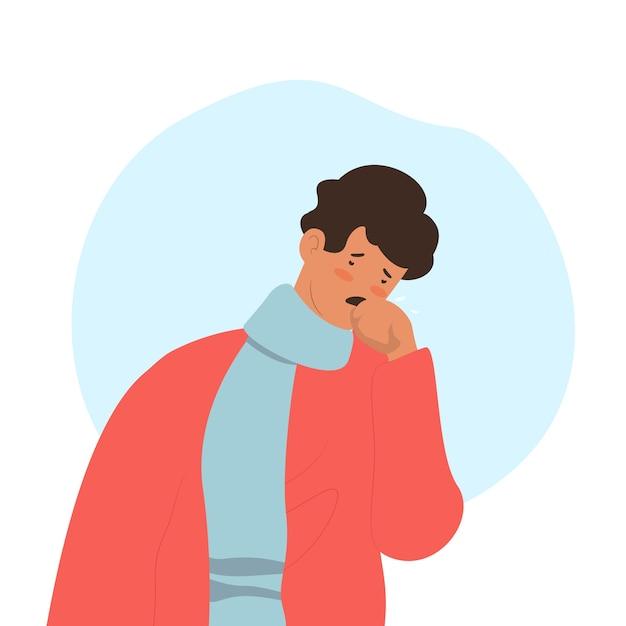 Triste homem tendo um resfriado Vetor grátis