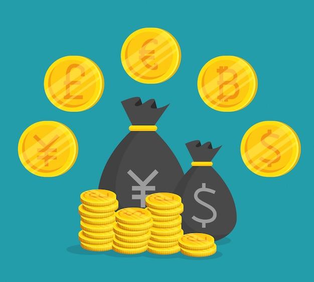 Troca de dinheiro internacional por moeda bitcoin Vetor grátis
