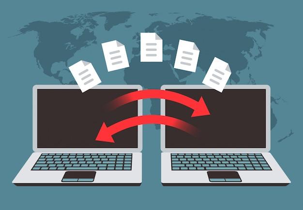 Troca de informações entre computadores. transferência de arquivos, gerenciamento de dados e arquivos de backup vector conceito Vetor Premium