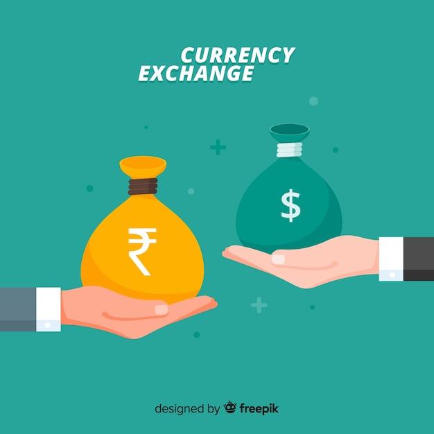 Troca de moeda da rupia indiana Vetor grátis