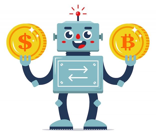 Troca de moeda virtual por dinheiro real. automação de serviços da internet. trocador de robôs. ilustração em vetor personagem plana. moedas de ouro. Vetor Premium