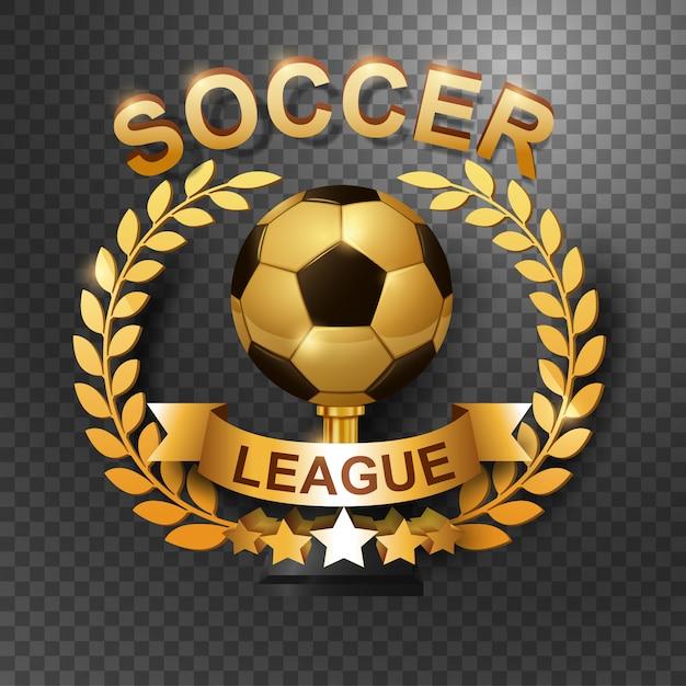 Troféu da liga de futebol com coroa de louros de ouro Vetor Premium