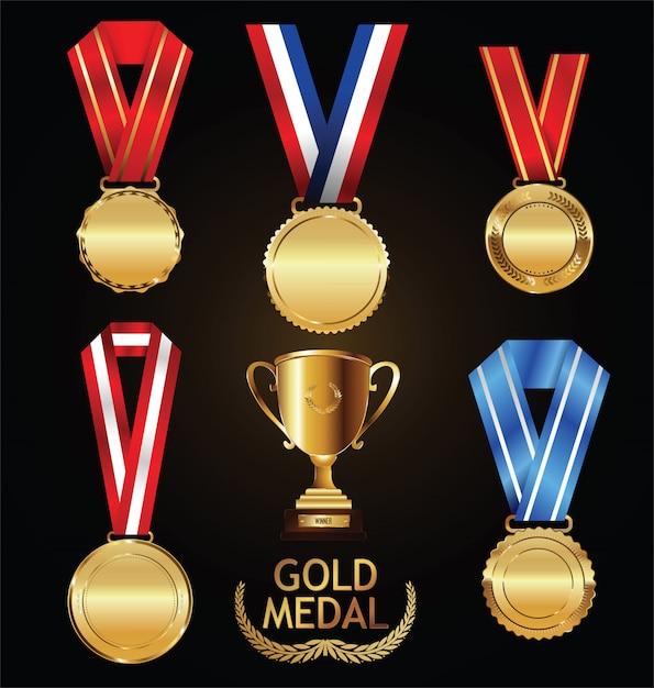 Troféu de ouro e medalha com coleção de vetor de coroa de louros Vetor Premium