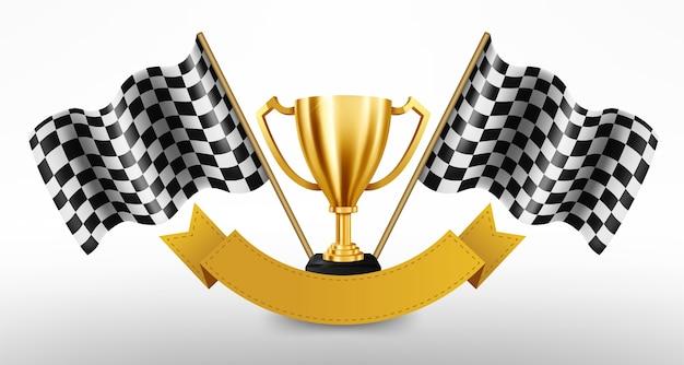 Troféu de ouro realista com bandeira quadriculada Vetor Premium