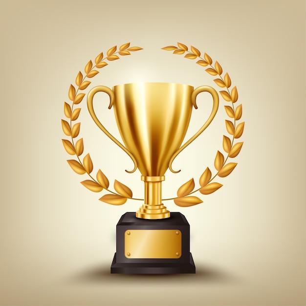 Troféu de ouro realista com coroa de louros de ouro Vetor Premium