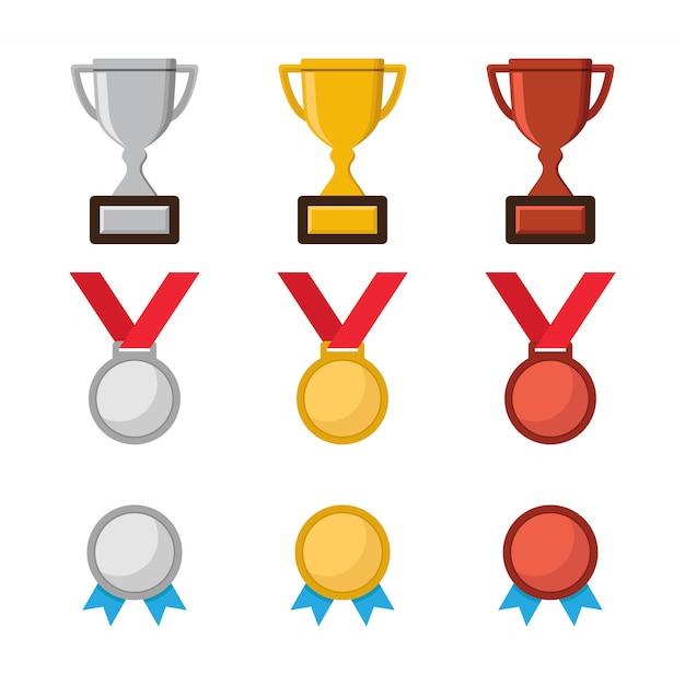 Troféu do campeonato, ícone de medalha de campeão Vetor Premium