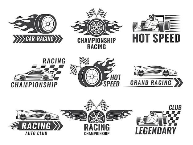 Troféu, motor, rally e outros símbolos para rótulos de esporte de corrida Vetor Premium