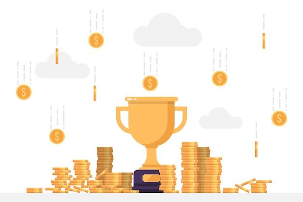 Troféu vencedor de ouro sob uma chuva de moedas Vetor Premium