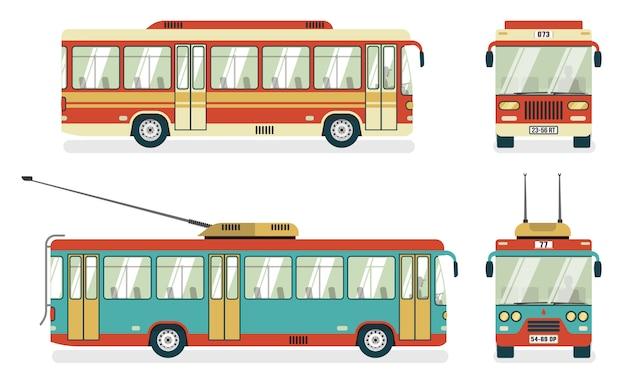 Trólebus de transporte público 4 ícones Vetor grátis
