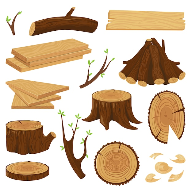 Tronco de madeira lenha empilhada, troncos de árvores de registro e pilha de conjunto isolado de log de madeira Vetor Premium