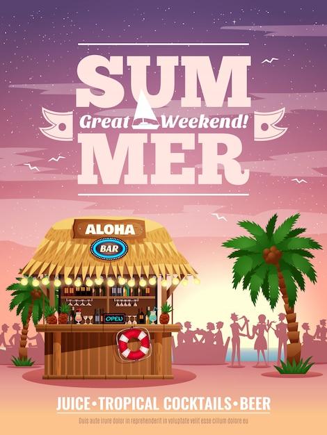 Tropical beach resort bungalow bar coquetéis refrescos cerveja propaganda cartaz com palm silhuetas de visitantes do sol Vetor grátis