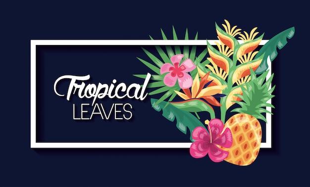 Tropical deixa ilustração escura Vetor grátis