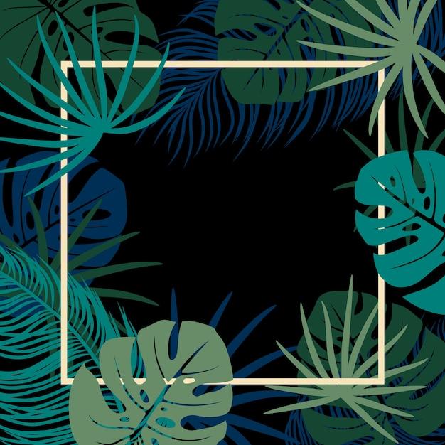 Tropical deixa no fundo preto com espaço de cópia Vetor Premium