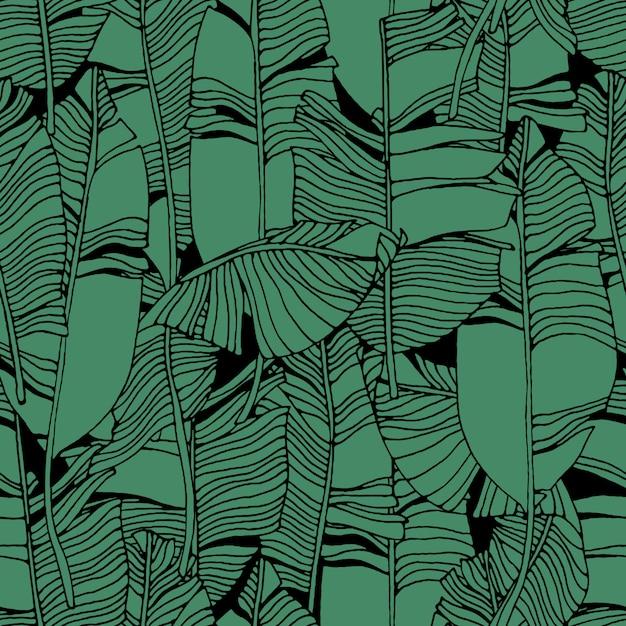 Tropical deixa o padrão de selva Vetor Premium