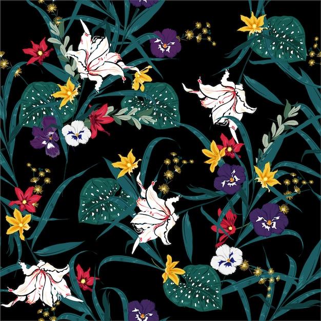 Tropical escuro bonito e floração de plantas botânicas padrão sem emenda com flores exóticas e folhas. sem costura padrão colorido .design para moda, tecido, web e todas as impressões Vetor Premium