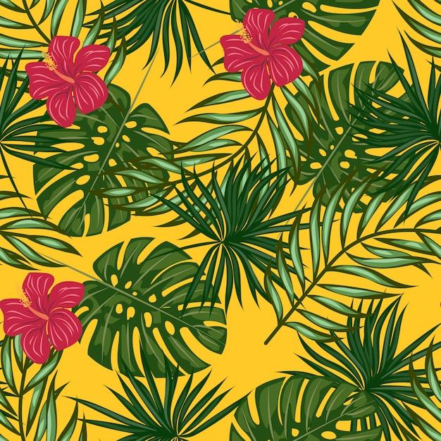 Tropical folhas e flores padrão Vetor Premium