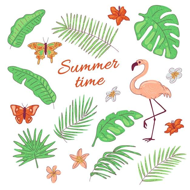 Tropical folhas flores borboleta flamingo coco exótico e palmeira de banana. ilustração de verão Vetor Premium