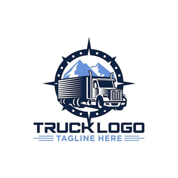 Truck logo vector imagem de stock Vetor Premium