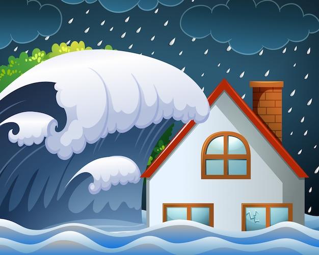 Tsunami batendo na casa Vetor Premium
