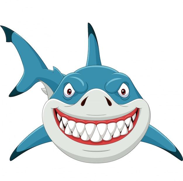 Tubarão bravo dos desenhos animados, isolado no branco Vetor Premium