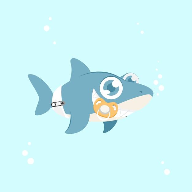 Tubarão de bebê com olhos azuis Vetor grátis