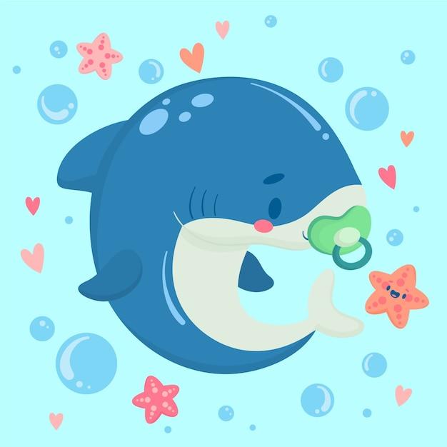 Tubarão de bebê design plano em estilo cartoon Vetor Premium