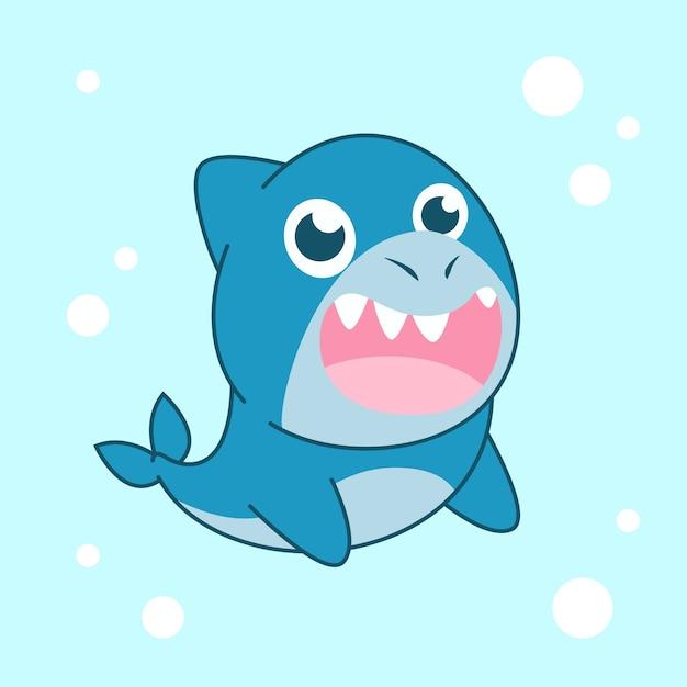 Tubarão de bebê fofo design plano Vetor grátis