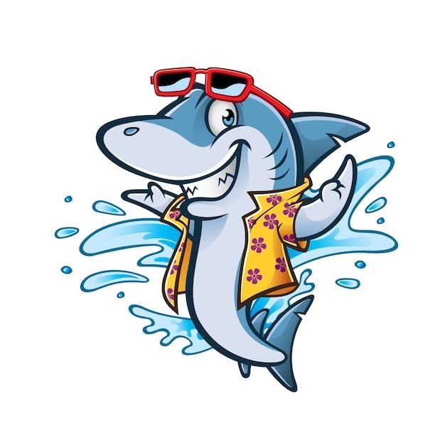 Tubarão de desenhos animados com roupa de praia e óculos de sol sorrindo bem-vindo Vetor Premium