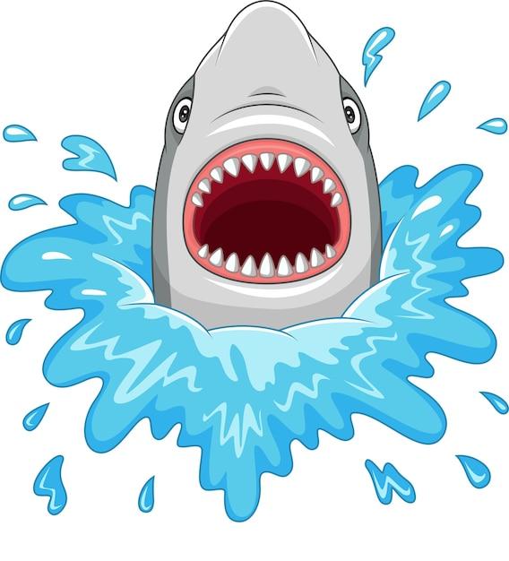 Tubarão dos desenhos animados com mandíbulas abertas isoladas em um fundo branco Vetor Premium