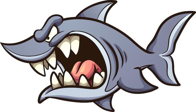 Tubarão irritado Vetor Premium