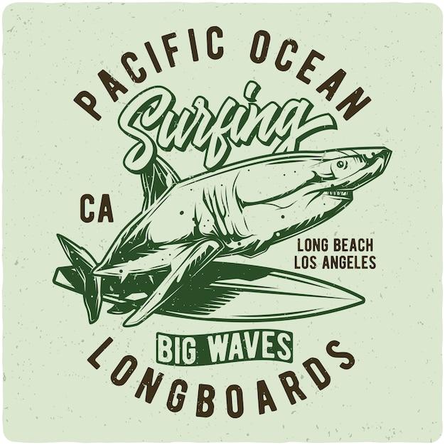 Tubarão na prancha de surf Vetor Premium