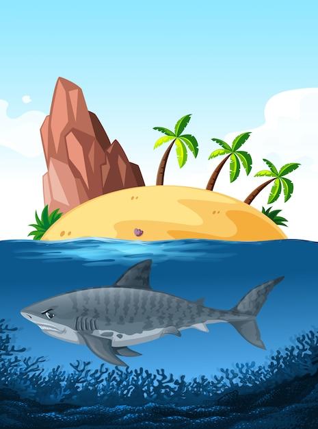 Tubarão, natação, sob, oceânicos Vetor grátis