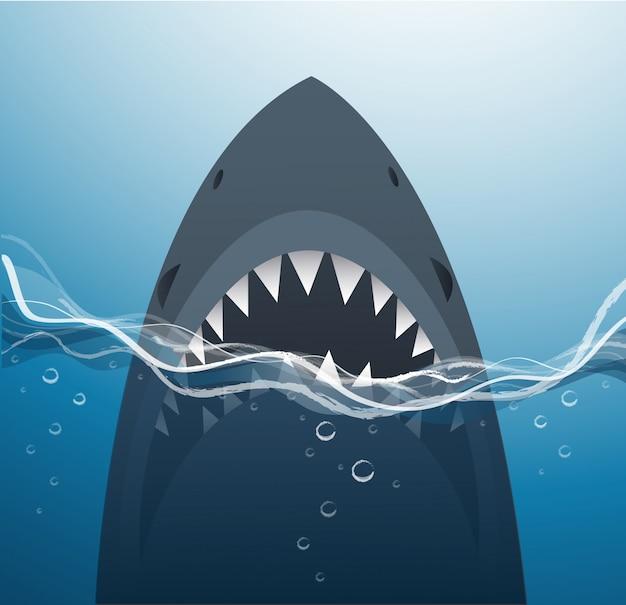 Tubarão no fundo do mar azul Vetor Premium
