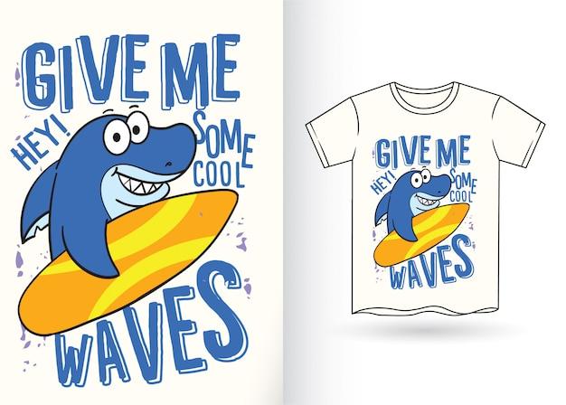 Tubarão para o tshirt Vetor Premium