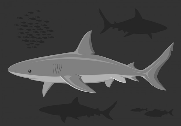 Tubarões no mar profundo. Vetor Premium