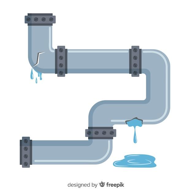 Tubo de água danificado design plano Vetor Premium