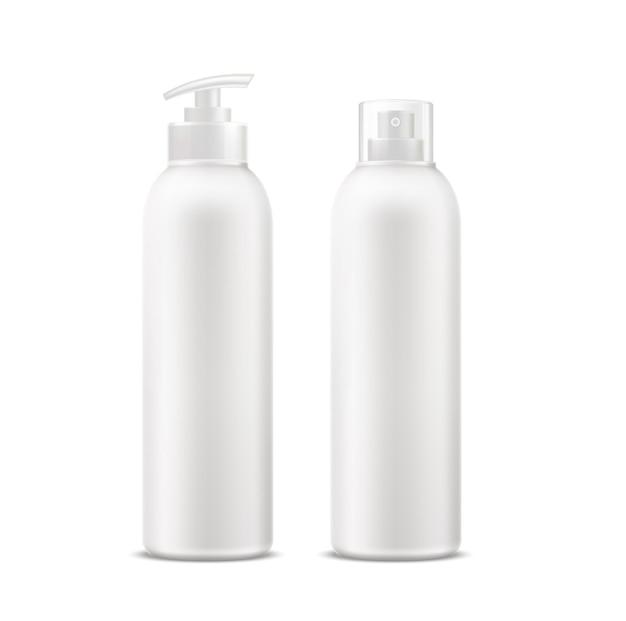 Tubo de creme spa realista, frasco de desodorante com conjunto dispensador. Vetor Premium