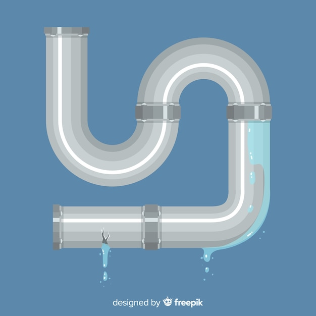 Tubo de metal de design plano vazando água Vetor grátis