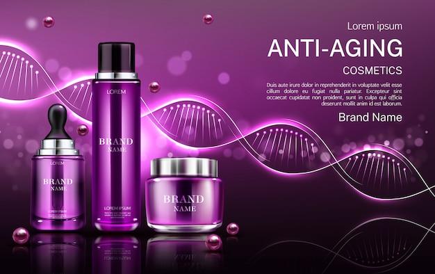 Tubos de cosméticos antienvelhecimento e frasco de creme Vetor grátis