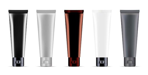 Tubos de creme de cosméticos ou medicina definir vetor de maquete Vetor Premium