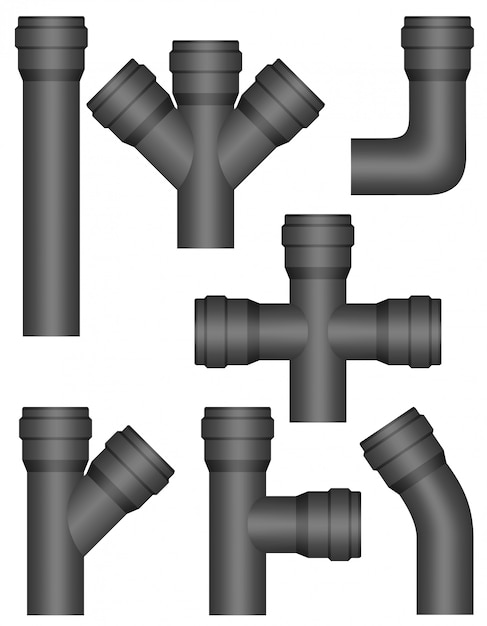 Tubos de plástico da indústria. Vetor Premium