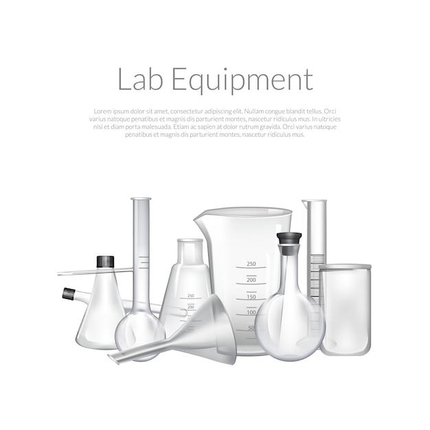 Tubos de vidro de laboratório químico Vetor Premium