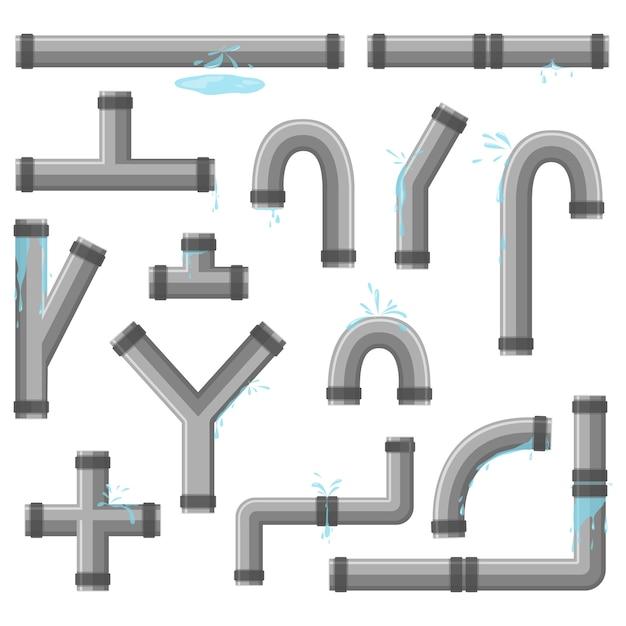 Tubulação com vazamento de água. tubos quebrados com vazamento, ruptura de tubulação plástica. coleção de tubo de água, vazamento, tubulação de plástico, válvula de vazamento, gotejamento. tecnologia industrial. Vetor Premium