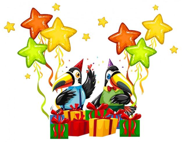 Tucano comemorar um aniversário Vetor grátis